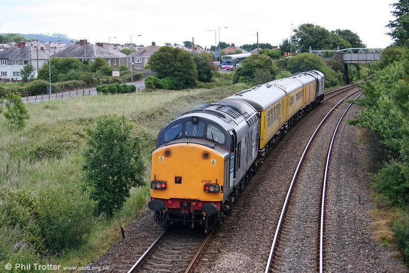 37038 brings up the rear of test train 2Q88, Whitland to Derby RTC at Ashburnham on 29th June 2011.