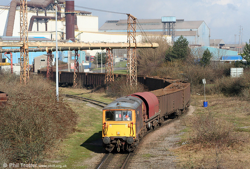 GBRf 73209 'Alison' with loaded MBAs for the melt shop at Celsa, Tremorfa on 11th February 2011. The BRA wagon is to enable the MBAs which have buckeye couplers, to be hauled by the class 73.
