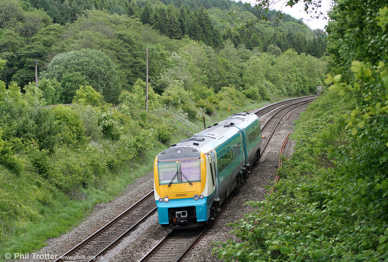 175003 near Llanharan, unusually forming the 1145 Cheltenham Spa to Maesteg on 14th May 2011.