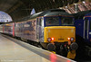57602 'Restormel Castle' at Paddington's platform 1, having arrived with 5C99, 2126 Old Oak Common to London Paddington ECS for the evening's 1C99, 2345 London Paddington to Penzance, 'The Night Riviera' sleeper on 31st May 2011. 57602 was new in 1965 to the Nottingham (Toton) area as class 47 no. D1818, later renumbered 47337 and was converted to a class 57 in 2003.