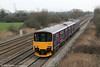 FGW's recently repainted 150123 is paired with a class 153 unit as it passes Coedkernew forming the 1102 Taunton to Cardiff Central on 1st March 2011.