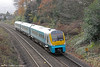 175103 departs from Abergavenny forming the 0908 Milford Haven to Manchester Piccadilly on 26th November 2011.