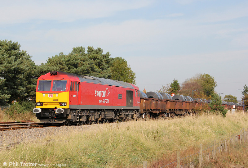 'Super 60' 60007 'The Spirit of Tom Kendell' passes Llangennech with 6B41, 1310 Margam to Trostre on 1st October 2011.