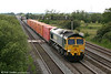 66542 heads through Coedkernew with 4O51, 1244 Wentloog to Southampton on 11th June 2011.