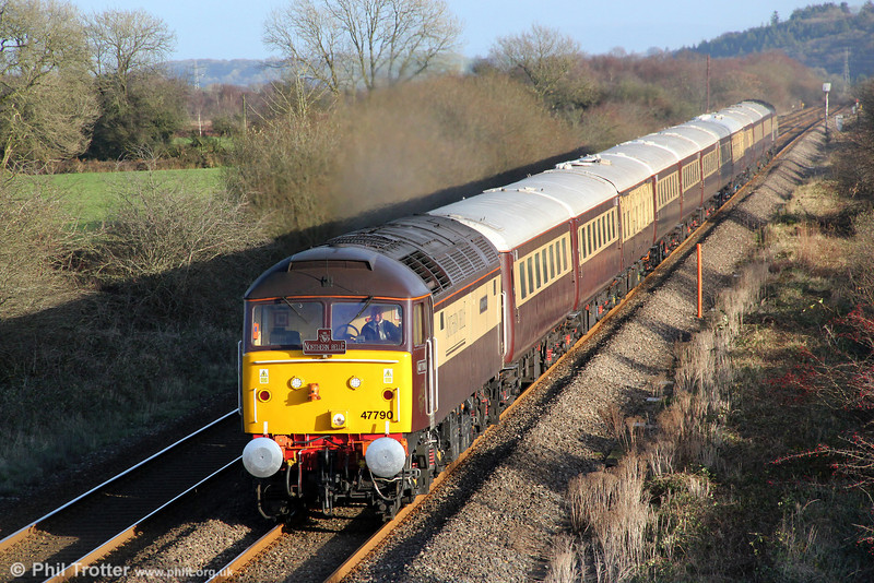 DRS's Northern Belle liveried 47790 'Galloway Princess' passes Nantyrhebog with 1Z22, 1208 Cardiff Central to Fishguard Harbour on 7th December 2011. 47832 'Solway Princess' was at the rear.