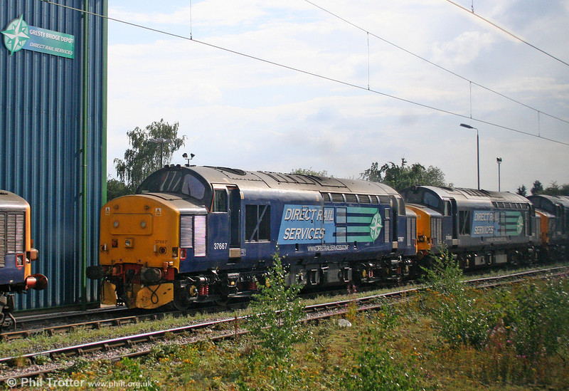 A third DRS 37, 37667 is seen stabled at Crewe, Gresty Bridge depot on 3rd August 2011.