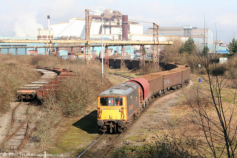 'Super Shunter': GBRf 73209 'Alison' removes empty MBAs from Celsa's Tremorfa Works, Cardiff on 11th February 2011.