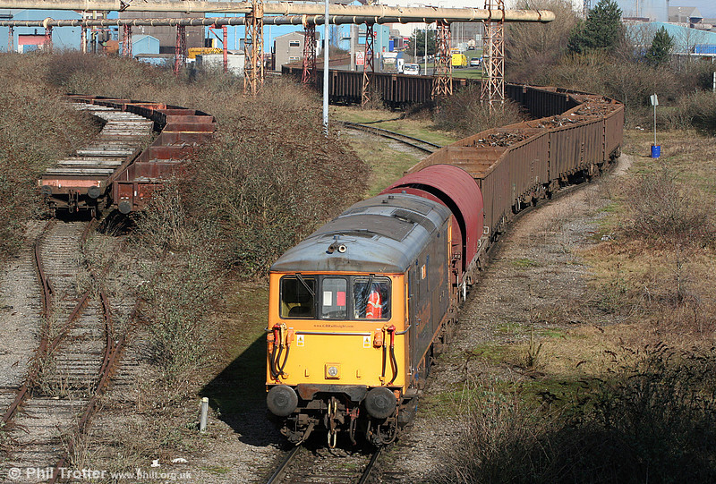 GBRf 73209 'Alison' propels another load of scrap metal into Celsa, Tremorfa on 11th February 2011.