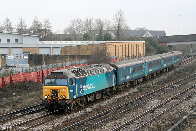 57315 approaches Cardiff Central with 1V31, 0532 Holyhead to Cardiff Central on 11th February 2011.