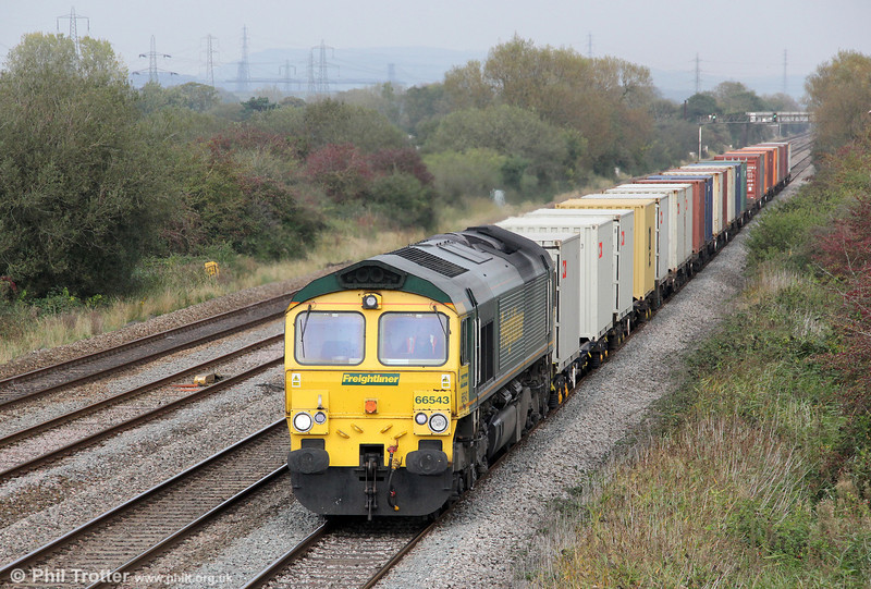 66543 at Coedkernew with 4V64, 1108 Crewe to Wentloog on 15th October 2011.