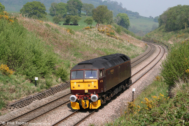 WCRC 47760 passes Penyclawdd, running as 0Z51 to Bristol Temple Meads, accompanying The Railway Touring Company's steam hauled 1Z51, 0843 Preston to Bristol Temple Meads, 'The Great Britain IV' on 22nd April 2011.