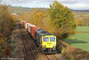 66592 'Johnson Stevens Agencies' passes Llanover with 4V64, 1108 Crewe to Wentloog on 26th November 2011.