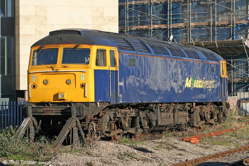 57005 stands and waits in its long term position at Cardiff Central on 20th January 2011. 57005 was new in 1965 as Brush Type 4 no. D1831 (later 47350).