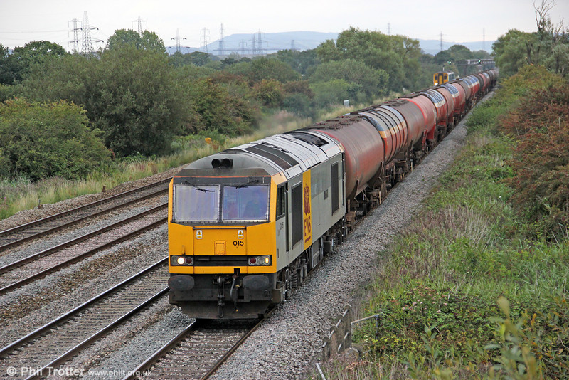 60015 'Bow Fell' passes Coedkernew with 6B33, 1212 Theale to Margam on 3rd September 2011.