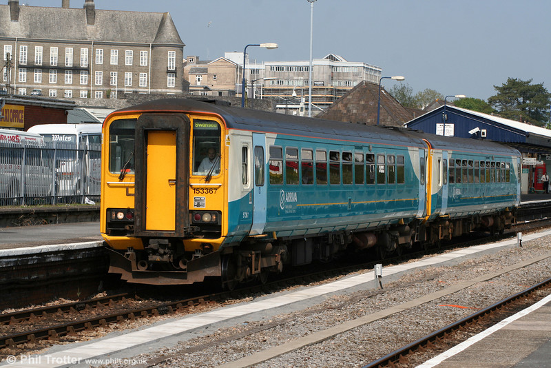 153367 leads a sister unit out of Carmarthen, forming the 1305 Pembroke Dock to Swansea on 30th April 2011.