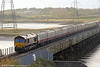 Heading home, 66091 crosses Loughor Viaduct with UK Railtours 1Z66, 1342 Onllwyn to London Paddington via Cwmgwrach and Llanelli, 'The Valley of the Witch' on 22nd October 2011.