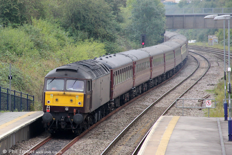 WCRC 47500 at the rear of Compass Tours 1Z57, 0605 Holyhead to Salisbury, 'The Western Cathedrals Express' at Filton Abbey Wood on 5th October 2011.