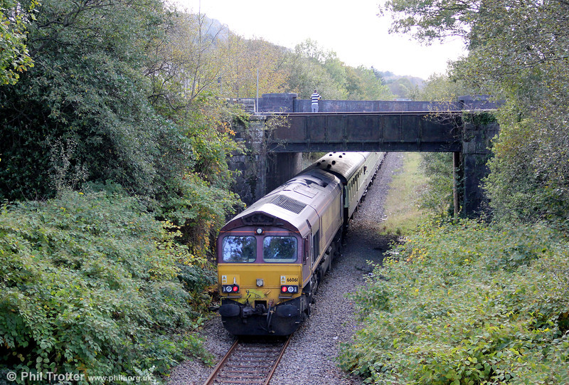 66061 at Resolven - at the rear of UK Railtours 1Z66, 1342 Onllwyn to London Paddington via Cwmgwrach and Llanelli, 'The Valley of the Witch' on 22nd October 2011.