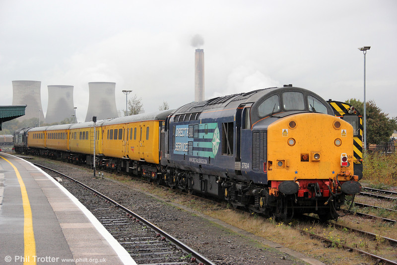 37604 stabled at Didcot with NR test train 1Q13, the Radio Signal Survey Train on 27th October 2011.