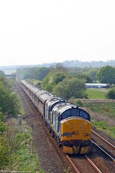 DRS 37688 'Kingmoor TMD' and 37194 at Nantyrhebog, bringing up the rear of Spitfire Railtours 1Z51, 0619 Preston to Fishguard Harbour, 'The Welshman' on 30th April 2011.