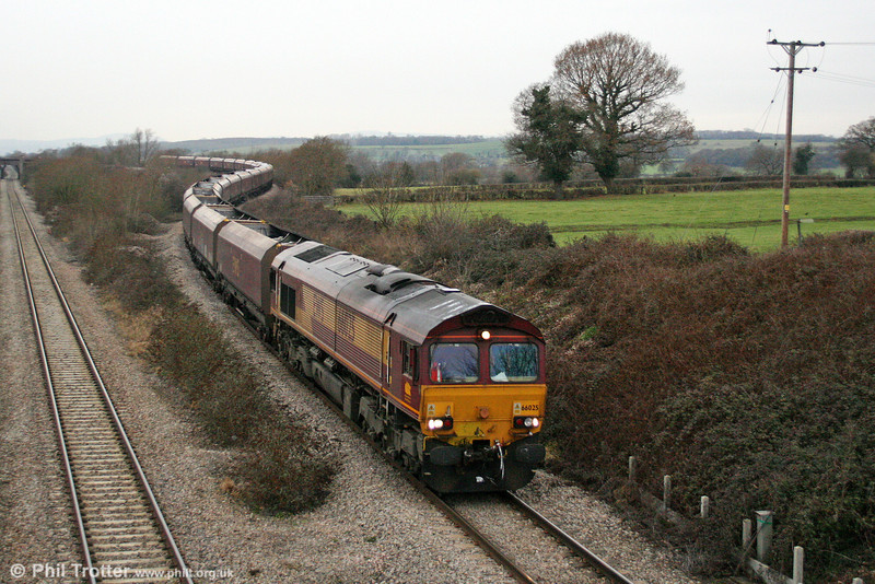 66025 passes Llandevenny with 4C70, 0925 Aberthaw to Portbury empties on 3rd January 2011.