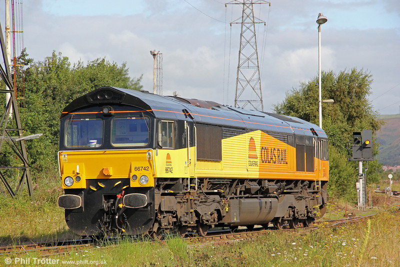 Having detached from 6V78 at Margam, 66742 (ex- 66841) prepares to run light to Llanwern on 29th August 2011.