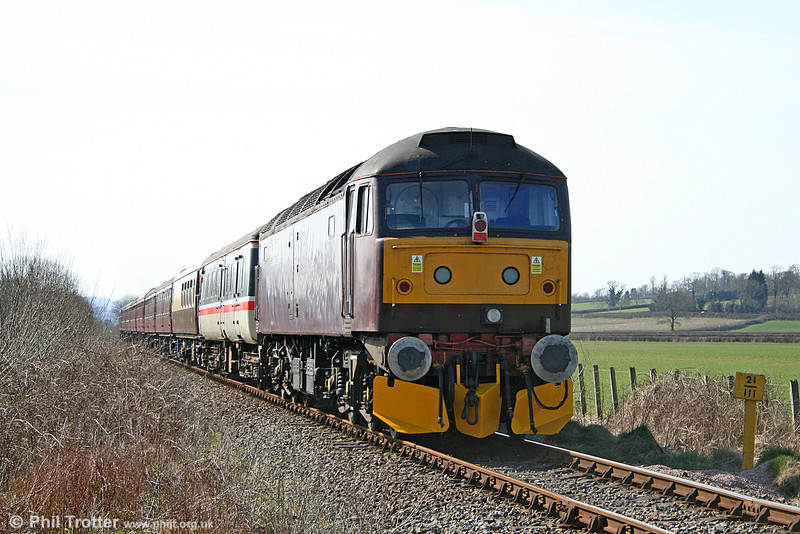 47760 brings up the rear of private charter 1Z66, 0735 Carnforth to Haverfordwest at Manordeilo on 19th March 2011.