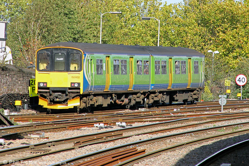 Former London Midland 150102 heads away from Newport forming the 1500 Cardiff Central to Taunton on 18th October 2011.
