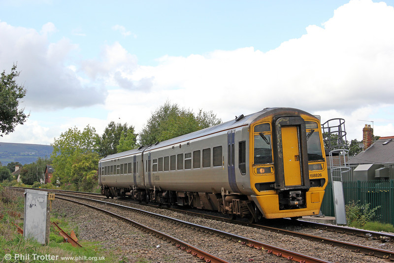 158826 is seen at Ponthir forming the 1020 Holyhead to Cardiff Central on 28th August 2011.