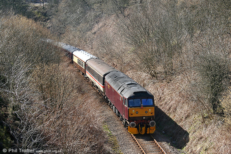 47760 brings up the rear of private charter 1Z66, 0735 Carnforth to Haverfordwest at Sugar Loaf Summit on 19th March 2011.