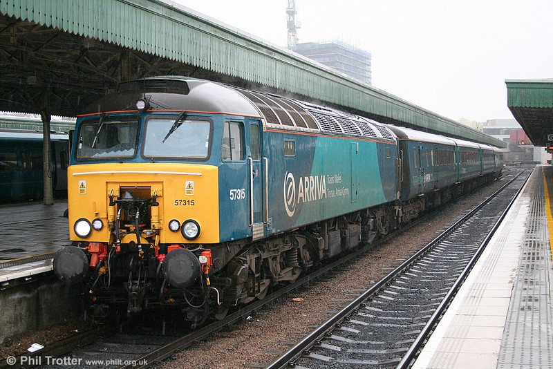 57315 arrives at Cardiff Central with 1V31, 0532 from Holyhead on 23rd February 2011.