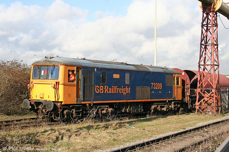 GBRf 73209 'Alison' at Celsa, Cardiff on 11th February 2011.
