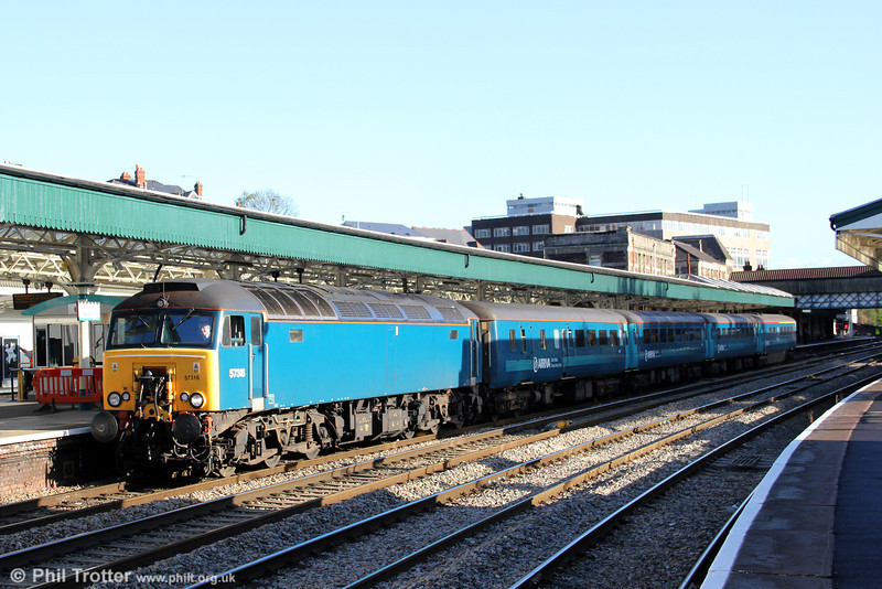 Another view of 57316 at Newport with 1V31, 0532 Holyhead to Cardiff Central on 18th October 2011.