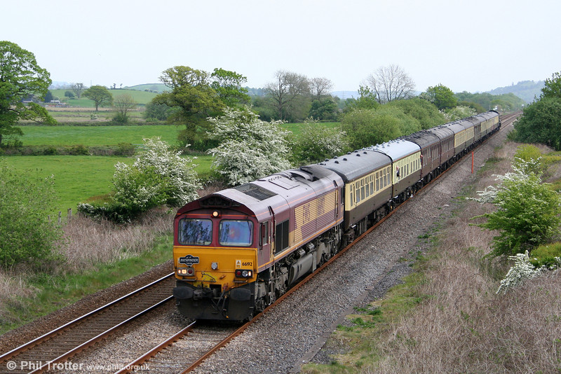 66192 passes Nantyrhebog with Pathfinder's 1Z24, 0814 Bristol Temple Meads to Pembroke Dock, 'The Pembroke Coast Explorer' on 1st May 2011. 'King' class 4-6-0 no. 6024 'King Edward I' was at the rear on this section of the tour.