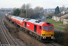 DB 60011 in Verkehrsrot livery passes Undy at the head of 6B13, 0505 Robeston to Westerleigh on 22nd January 2011.