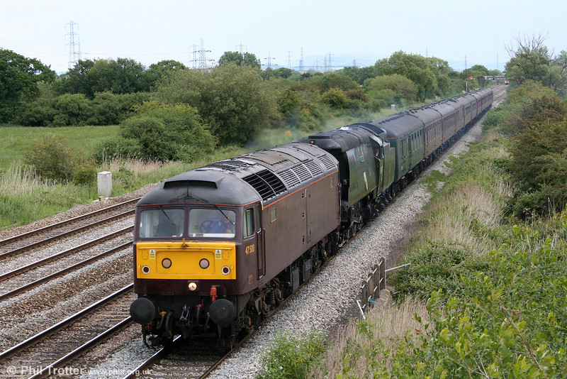 The Railway Touring Company's 1Z82, 0635 Poole to Cardiff Central, 'The Welshman' is seen passing Coedkernew approximately 100 minutes late on 11th June 2011. Having stalled on the 1 in 75 of Filton Bank, SR 4-6-2 no. 34067 'Tangmere' was rescued by West Coast's 47500 which was in the Bristol area having brought 'The Cathedrals Express' railtour from London.