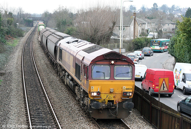 66024 is seen at Eastbrook with 6B39, 1437 Barry Docks to Newport ADJ on 1st March 2011.