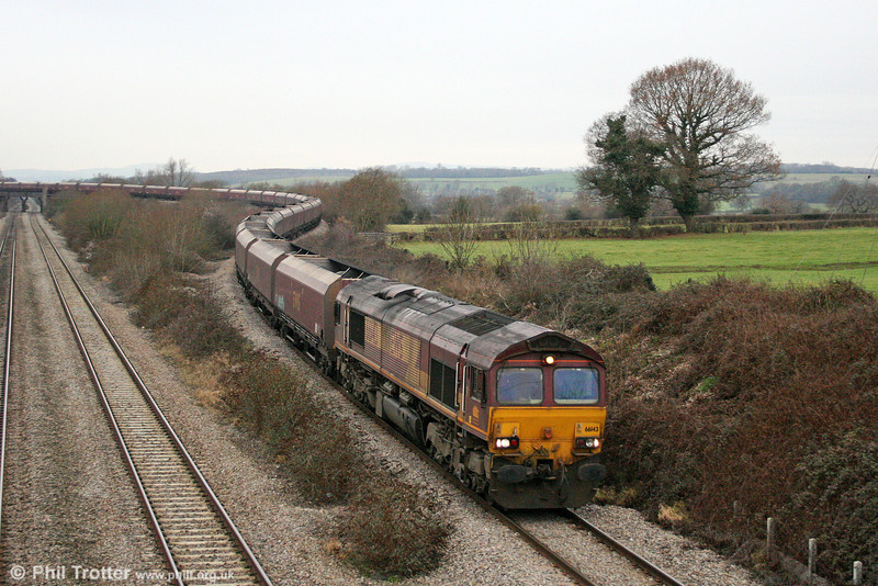 66143 at Llandevenny with 4E66, 0855 Margam to Redcar coke empties on 3rd January 2011.