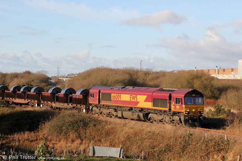 66009 on the Genwen loop with 6B11, 1015 Margam to Trostre on 18th December 2011.