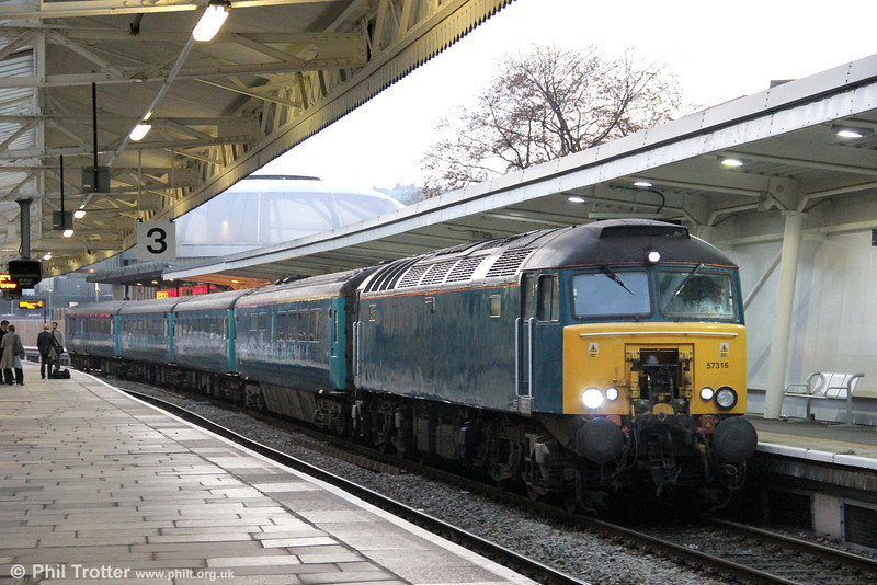 57316 at Newport once again - this time on 10th November 2011 with 1W91, 1615 Cardiff Central to Holyhead.