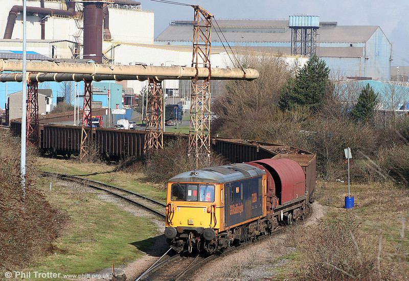 Looking somewhat incongruous in the surroundings of Celsa, Cardiff, GBRf 73209 'Alison' shunts MBA wagons loaded with scrap metal into the works on 11th February 2011.
