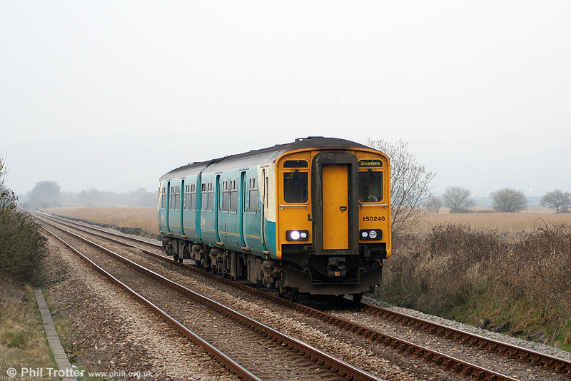150240 is seen at Llangennech forming the 1405 Shrewsbury to Swansea on 26th March 2011.