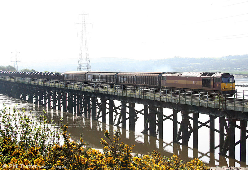 Diverted due to engineering work on the Swansea District Line, 60096 crosses Loughor Viaduct with 6B11, 0815 Margam to Trostre on 10th April 2011.