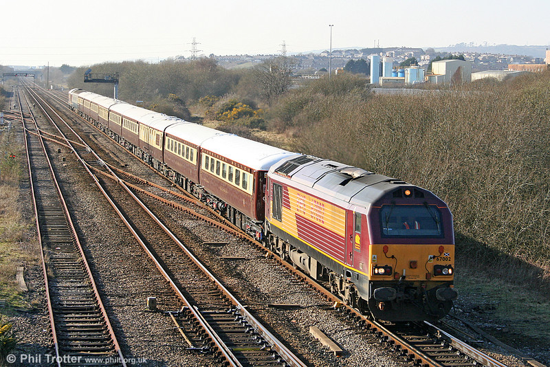 67002 passes Llandeilo Junction with the Northern Belle 1Z25, 1409 Milford Haven to Cardiff Central on 4th March 2011.