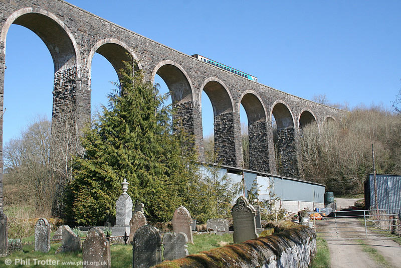 Heart of Wales Landscapes, 3: The magnificent 283 yard, 18 arch Cynghordy Viaduct was completed in 1867 and is now a listed structure. The 0905 Shrewsbury to Cardiff Central crosses the viaduct on 19th March 2011.