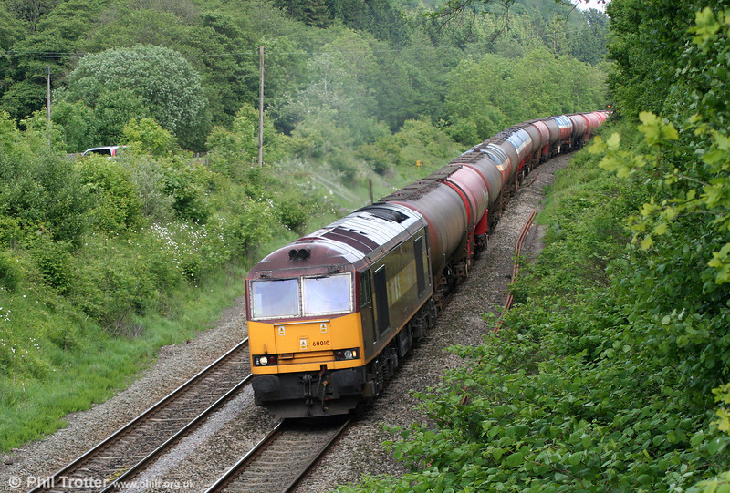60010 is seen near Llanharan with 6B33, 1212 Theale to Margam on 14th May 2011.