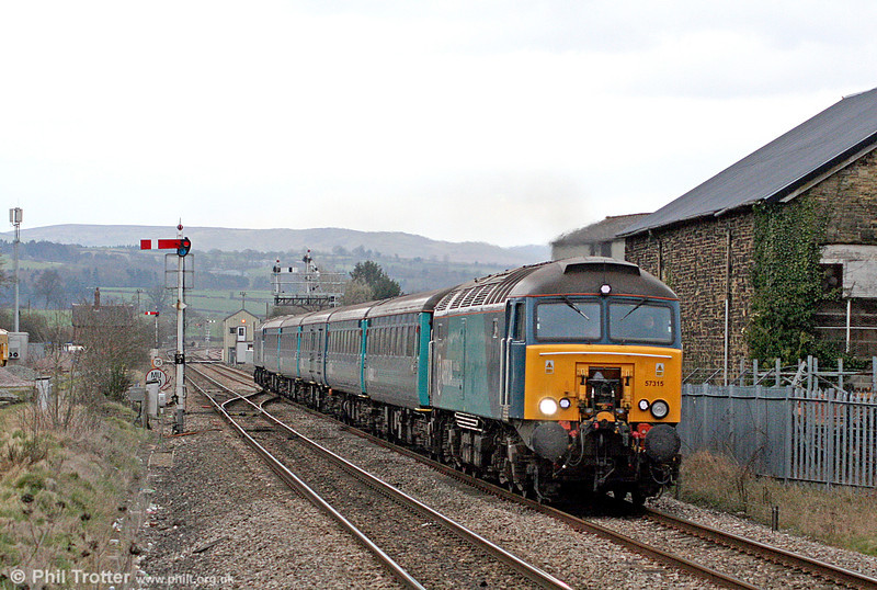 Class 57/3 no. 57315 is seen at Craven Arms with 1V41, 1020 Holyhead to Cardiff Central 'Rugex' on 12th March 2011. Classmate no. 57313 was at the rear.