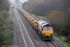 66021 at the rear of 6W02 with fresh ballast at Pembrey on 11th December 2011.