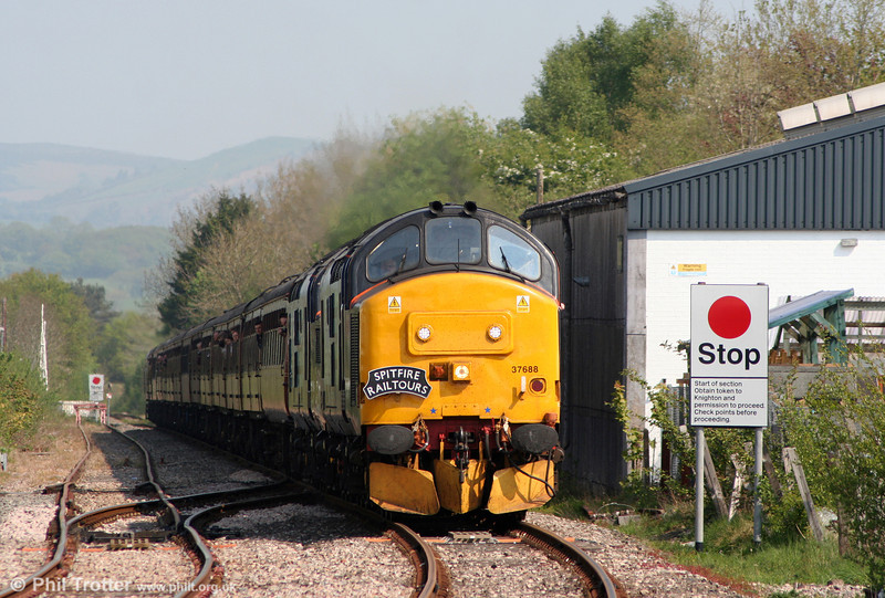 DRS 37688 'Kingmoor TMD' leads 37194 into Llandrindod Wells with Spitfire Railtours 1Z51, 0619 Preston to Fishguard Harbour, 'The Welshman' on 30th April 2011.