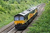 66843 leads 66842 near Llanharan, running from Llanwern to Margam to work 6Z79, Margam To Llanwern on 14th May 2011.